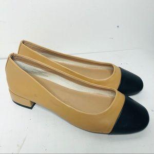 TOPSHOP tan black cap heel ballet flats loafers 6